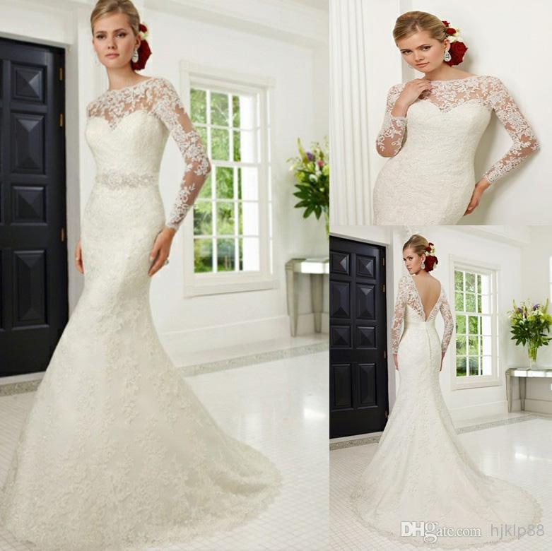 b473114a0755be Hot Selling Sexy Illusion Jewel Neckline Long Sleeves Backless Wedding Dresses  Ronald Joyce V Open Back Wedding Dress Button Bridal Gown Online with ...
