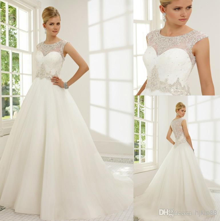New Applique Beaded Illusion Jewel A-line Tulle/Lace Illusion ...