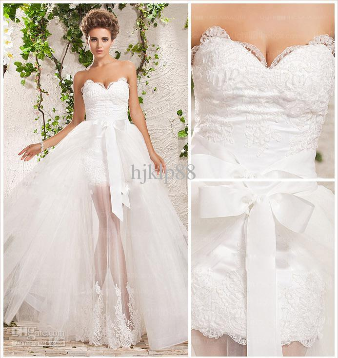 Most popular tulle with applique lace detachable skirt for Removable tulle skirt wedding dress