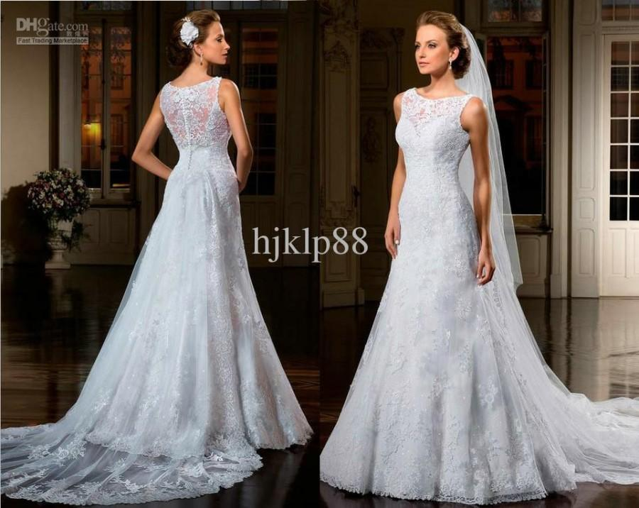 Backless Wedding Gowns: 2014 Best Selling A-Line Bateau Illusion Backless Wedding
