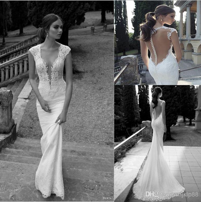 New berta winter 2014 lace sheer wedding dresses deep v for Winter mermaid wedding dresses
