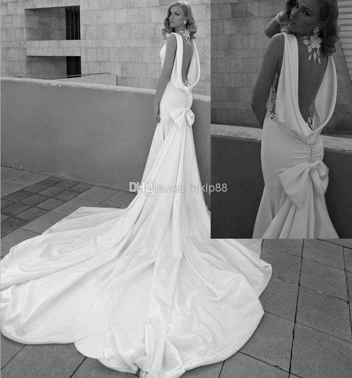 Wedding - Custom Make New Galia Lahav Mermaid Backless Wedding Dresses Detachable Train Elastic Satin Pearls Bow White Ivory Bridal Gowns Online with $115.71/Piece on Hjklp88's Store