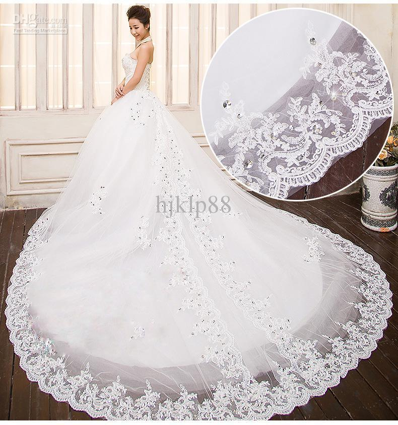 Ball Gown Wedding Dresses With Train : Bridal ball gown a line cathedral train cheap sheer wedding dresses