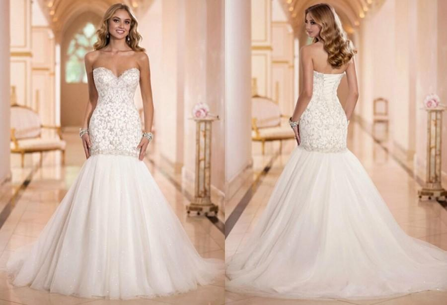 New Arrival Y Sweetheart Luxury Beaded Mermaid Wedding Dresses Shining Bridal Gown Lace Up Tulle Gowns Court Train Online With 120 95 Piece On