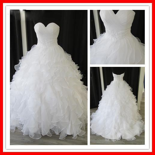 زفاف - Custom Made Elegant Tiers Real Sample White Organza Sweetheart Ball Gown Chapel Empire Ruffles Beaded Wedding Dresses Online with $129.24/Piece on Hjklp88's Store