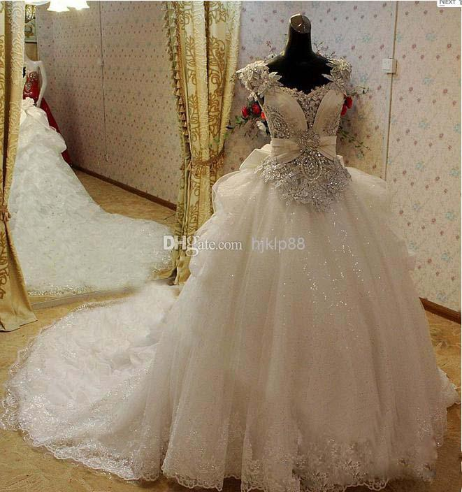 2014 New Modest Crystals Wedding Dresses Flowers Beads Sweetheart Backless Bow Falbala A Line