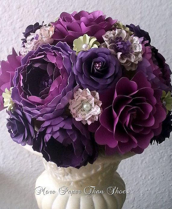 Свадьба - Paper Bouquet - Paper Flower Bouquet - Wedding Bouquet - Toss Bouquet - Shades of Purple - Custom Made - Any Color