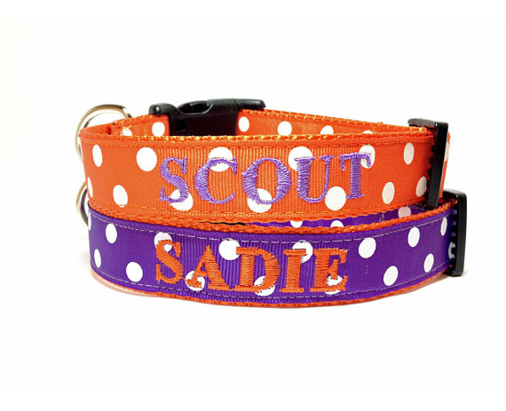 Свадьба - Wedding Dog Collars made in your wedding colors - personalized dog collars