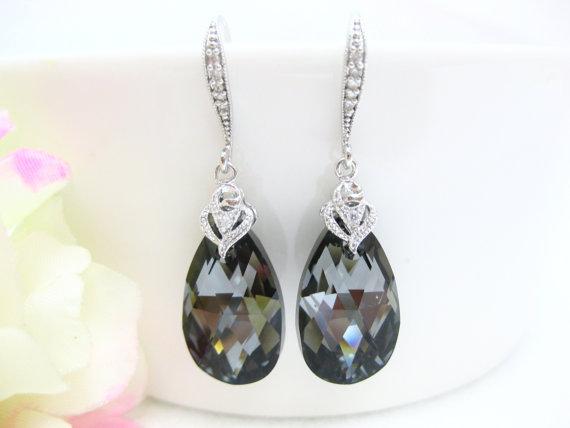 Silver Night Black Swarovski Crystal Tear Drop Earrings Wedding Bridesmaid Bridal Jewelry Dar Grey E009