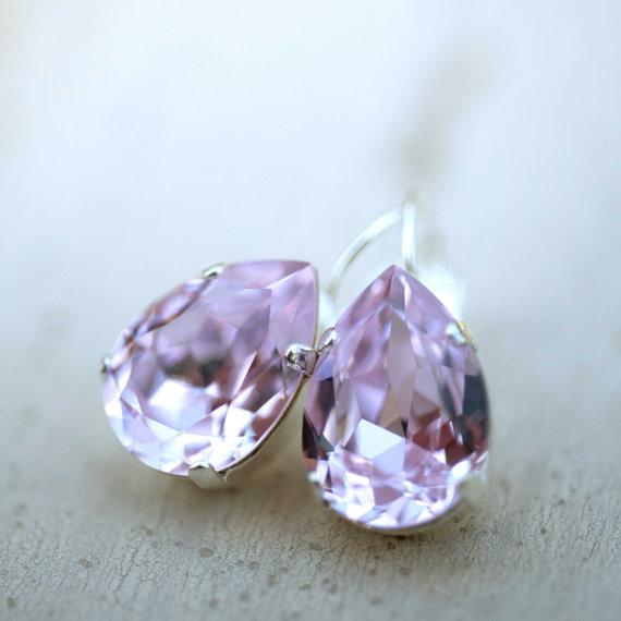 زفاف - Lavender Silver Estate Style Vintage Earrings Wedding Jewelry Violet Earrings Bridal Earrings Bridesmaids Gift