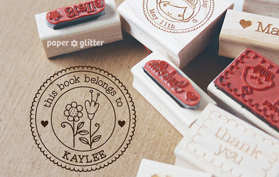 زفاف - Flowers Personalized Self-Inking or Wood Rubber Stamp