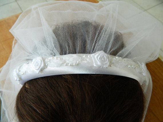 Hochzeit - First Communion Headband Veil attached to a White Satin Headband with Pearls ,Organza. and Roses