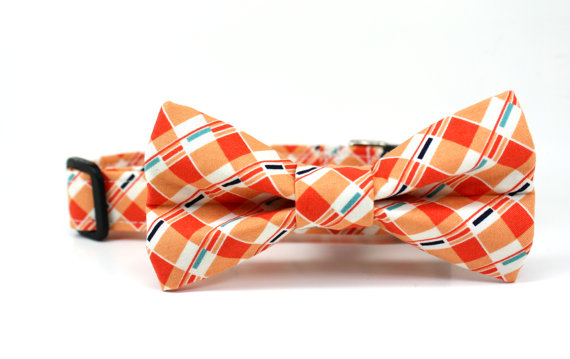 Wedding - Orange Peel Plaid Dog Collar and Dog Bow Tie Set - Made to Order / Wedding Dog Collar Bow Tie Set / Summer Dog Collar Bow Tie Set