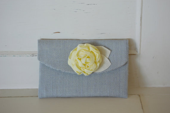 Grey Burlap Clutch Bridesmaid Purse Gift Idea Rustic Wedding Grey