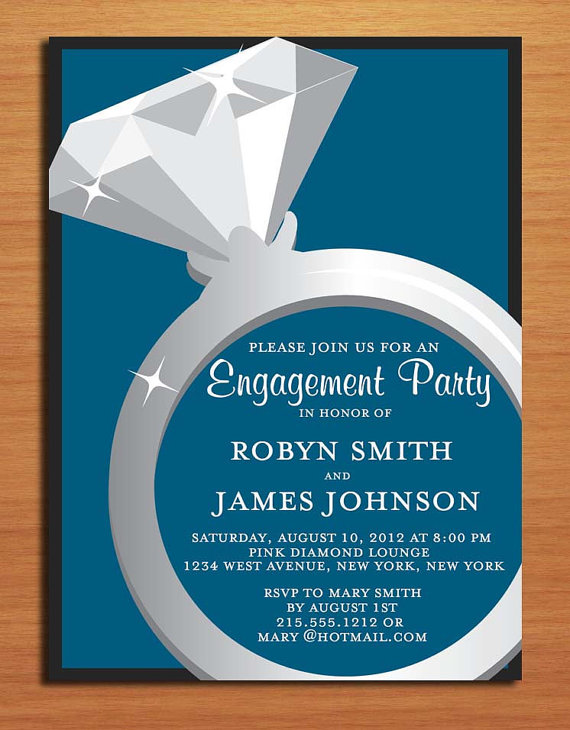 Engagement ring blue and charcoal classy engagement for Pictures of wedding rings for invitations