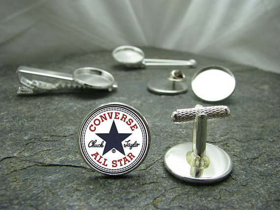 Mariage - Converse Cufflinks, Tie Clips, Lapel Pins, Tie Tacks or Matching Sets