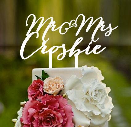 Свадьба - Mr&mrs crosbie, Wedding Cake Topper, cake topper, Mr and Mrs, custom cake topper, monogram cake toppers