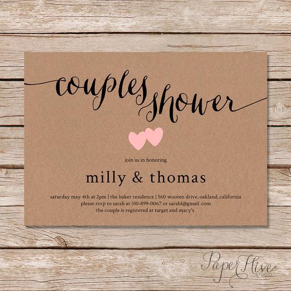 زفاف - Rustic couples shower invitation / Kraft couples wedding shower invite / DIY Printable digital file