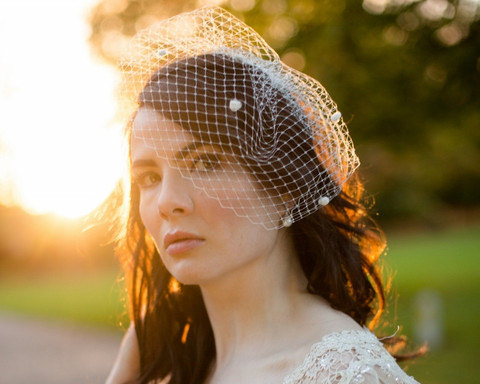 زفاف - Polka Dot Bridal Birdcage Veil, Dotty