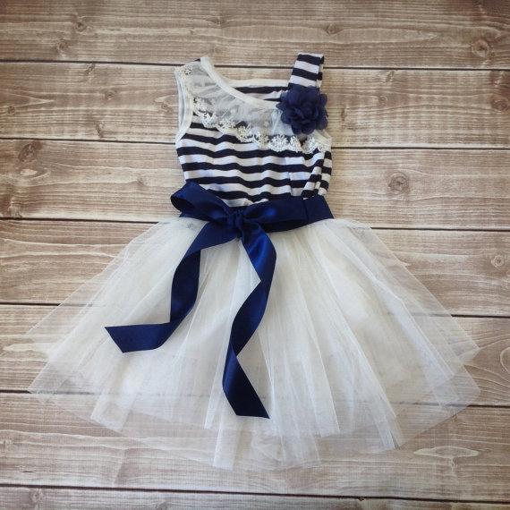 زفاف - Navy White Toddler Girl dress, Nautical Dress, Flower Girl Dress, Rustic Beach Wedding, Vintage Girl Dress, Tutu Dress, Navy Dress