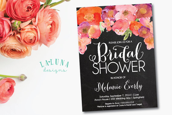 chalkboard bridal shower invitation floral shower invitation floral bridal shower rustic bridal shower invite