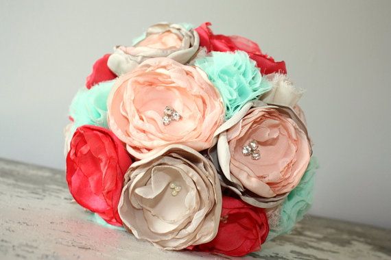 Mint, Peach, Coral And Champagne Wedding Bouquet, 10\