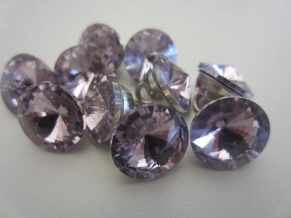 Nozze - New Vintage style Czech light pink glass solitaire rhinestones, metal setting lot of 10 (new rhine 2)