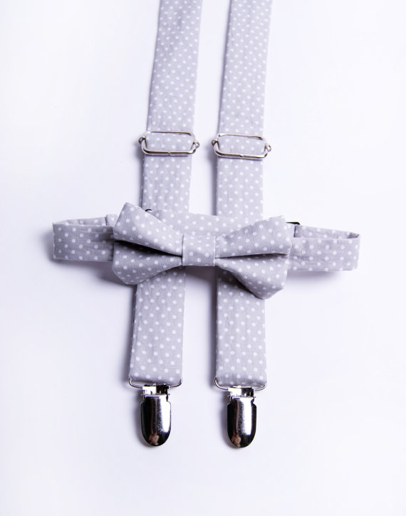 Свадьба - Grey Polka Dot Suspender & Bow Tie Set  - Baby Toddler Child Boys  - Wedding