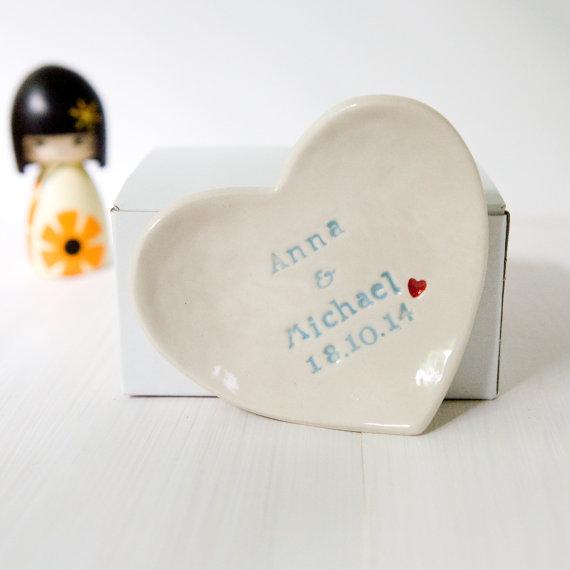 Mariage - Personalised Wedding Ring Dish custom porcelain heart wedding ring bearer bowl