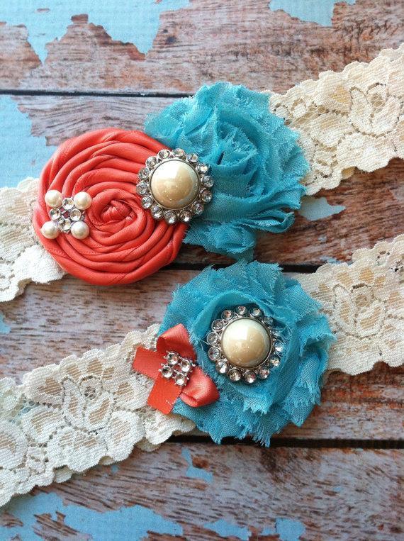 Hochzeit - Wedding garter / coral and turquoise  wedding garters/ bridal  garter/  lace garter / toss garter / vintage lace garter