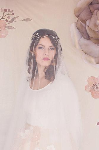 Свадьба - Wedding Veil, Drop Veil, Bridal Veil, Tulle Veil, English Net Veil, The Aurora Bridal Drop Veil #161