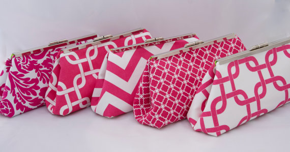 Hochzeit - Wedding Party Gift in Hot Pink Custom design your own Clutch or set of clutches as Bridesmaids Gift