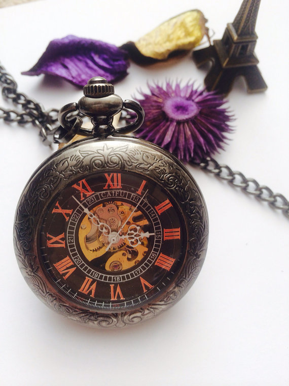 Свадьба - Engravable Pocket Watch Mens Personalized Mechanical Pocketwatch Groomsmen gift idea VM017