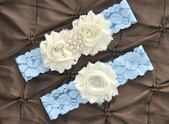 Mariage - Wedding Garter, Bridal Garter Set - Blue Lace Garter, Keepsake Garter, Toss Garter, Shabby Chiffon Ivory Wedding Garter, Something Blue