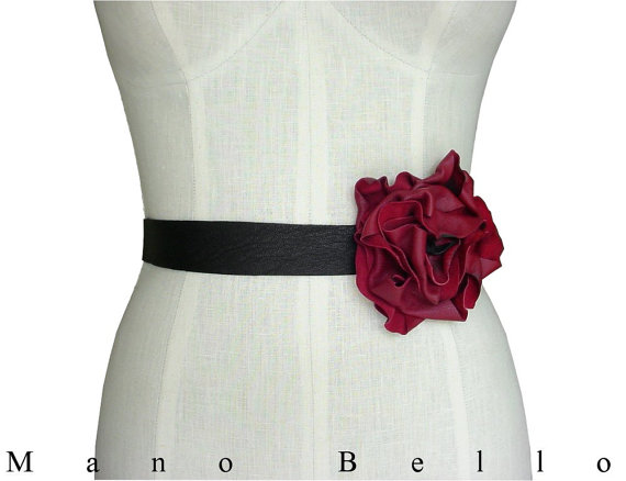 leather flower belt bridal belt wedding dress belt tie