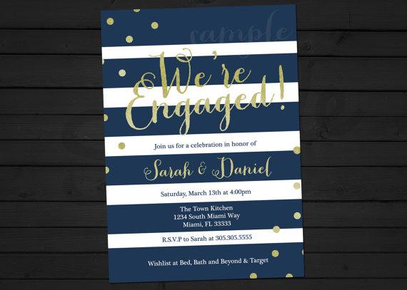 Mariage - Engagement Party Invitation - Glitter Engagement Invitation - Navy and Gold - Gold Glitter - Printable Invitation
