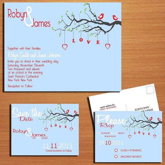 زفاف - Love Birds Wedding Collection / Invitation / RSVP / Save the Date Postcard PRINTABLE / DIY