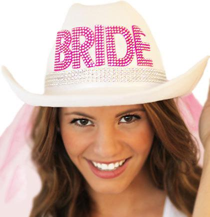 Hochzeit - Country Western Rhinestone Bride Hat with Veil - White Hat with Hot Pink Veil, Bachelorette Party, Bridal Shower