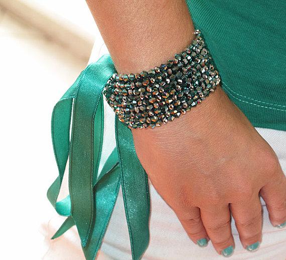 زفاف - Emerald Green Cuff  Bracelet, Rhinestone Cuff, ,crystyl cuff, Wedding Cuff,  Jewelry Sparkly Bracelet