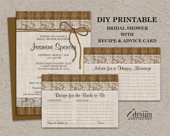 زفاف - Rustic Burlap And Lace Bridal Shower Invitation With Recipe Card And Wedding Advice Card, DIY Printable Digital Files
