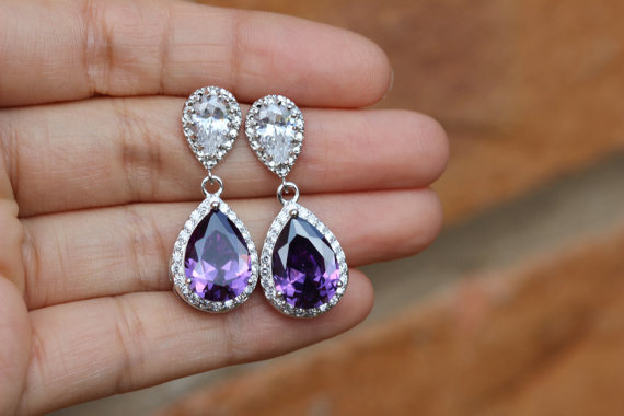 زفاف - purple wedding jewelry , purple earring , Amethyst earring , Cubic Zirconia bridal jewelry