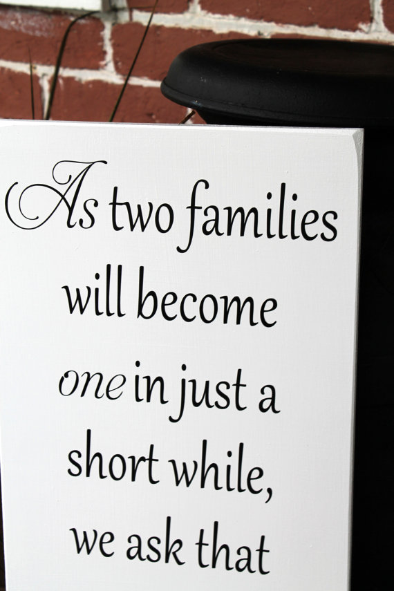 """Свадьба - 11"""" x 23"""" Wooden Wedding Sign - As two families will become one - Ceremony sign, pick a seat not side"""