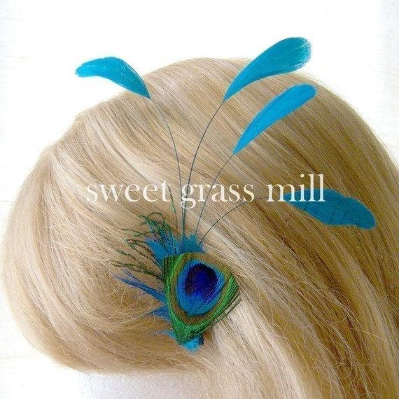 Mariage - Peacock Feather Fascinator - BLEU PEACOQUE - Teal Turquoise Feather Plume Clip