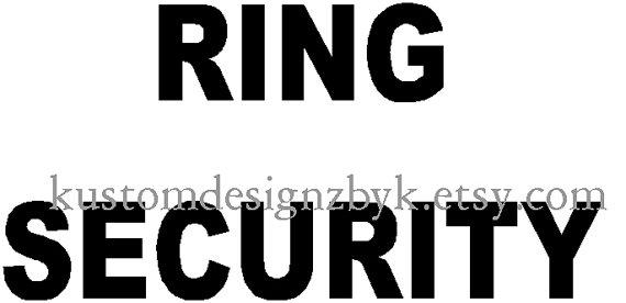 Mariage - Wedding Ring Security iron-on shirt decal transfer NEW by kustomdesignzbyk