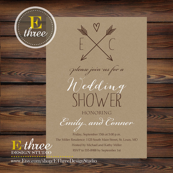 زفاف - Printable Rustic Wedding Shower Invitation - Kraft Paper and Aarows Couples Shower - Bridal Shower Invitation
