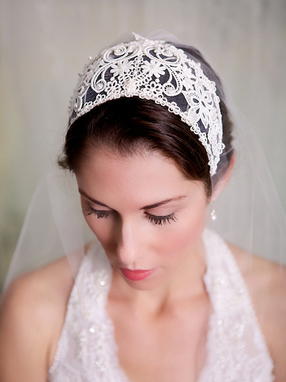 Juliette Cap Lace Bridal Cap Vintage Lace Headband