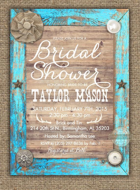 زفاف - Rustic Turquoise Distressed Wood Bridal Shower Baby Shower Birthday Wedding Invitation Printable Digital - ANY EVENT