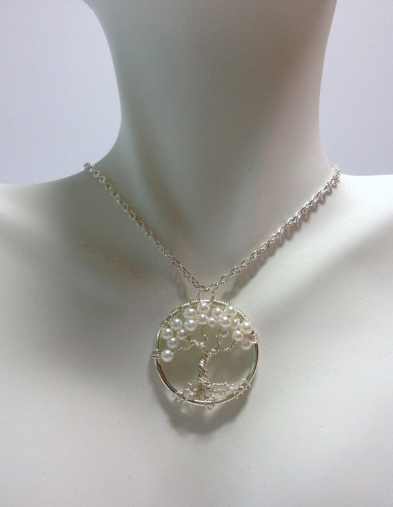 Mariage - Tree of Life Pendant---Petite Pearl Birthday Wedding Jewelry Wire Wrapped Trees Custom by Just4FunDesign