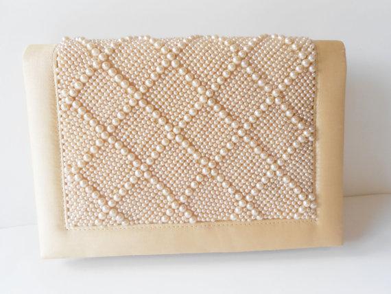 Wedding - Beaded Evening Bag Vintage Clutch Handbag Purse Wedding Bridal