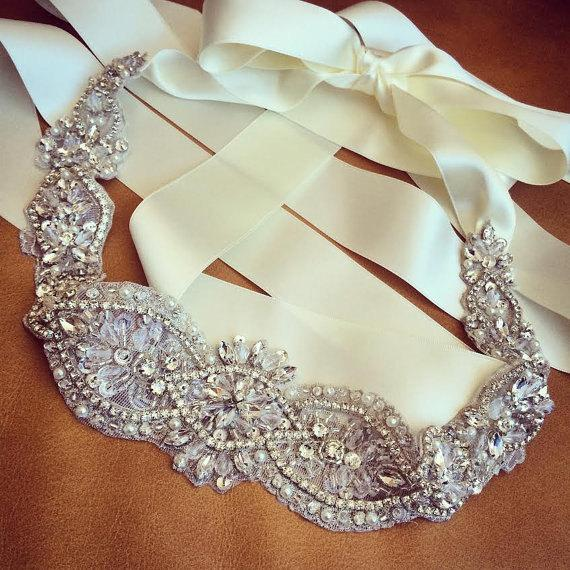Mariage - Crystal and Rhinestone Beaded Applique Bridal Belt Wedding Sash Applique